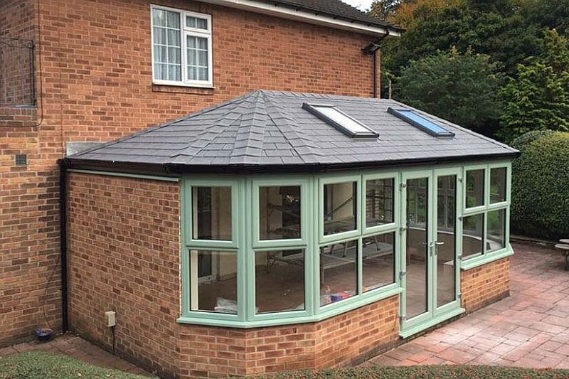 conservatory roofed with velux window