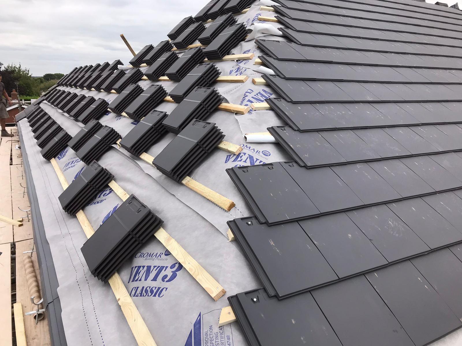 slate roof repair job